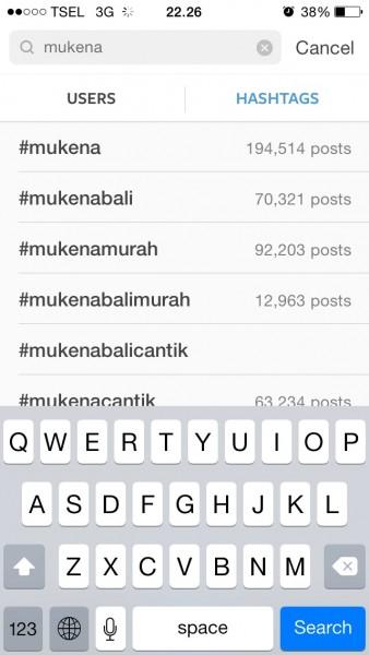 Contoh cara mencari hashtag Instagram yang paling banyak digunakan.
