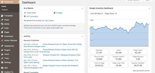 Google Analytic di Dashboard WP